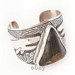 Megalodon Shark Tooth 925 Sterling Silver Mens Cuff Bracelet Fathers Day Gift